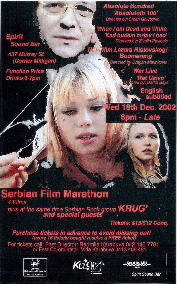 "documentary: ""Serbian Film Marathon, Perth"" (18th December, 2002)"